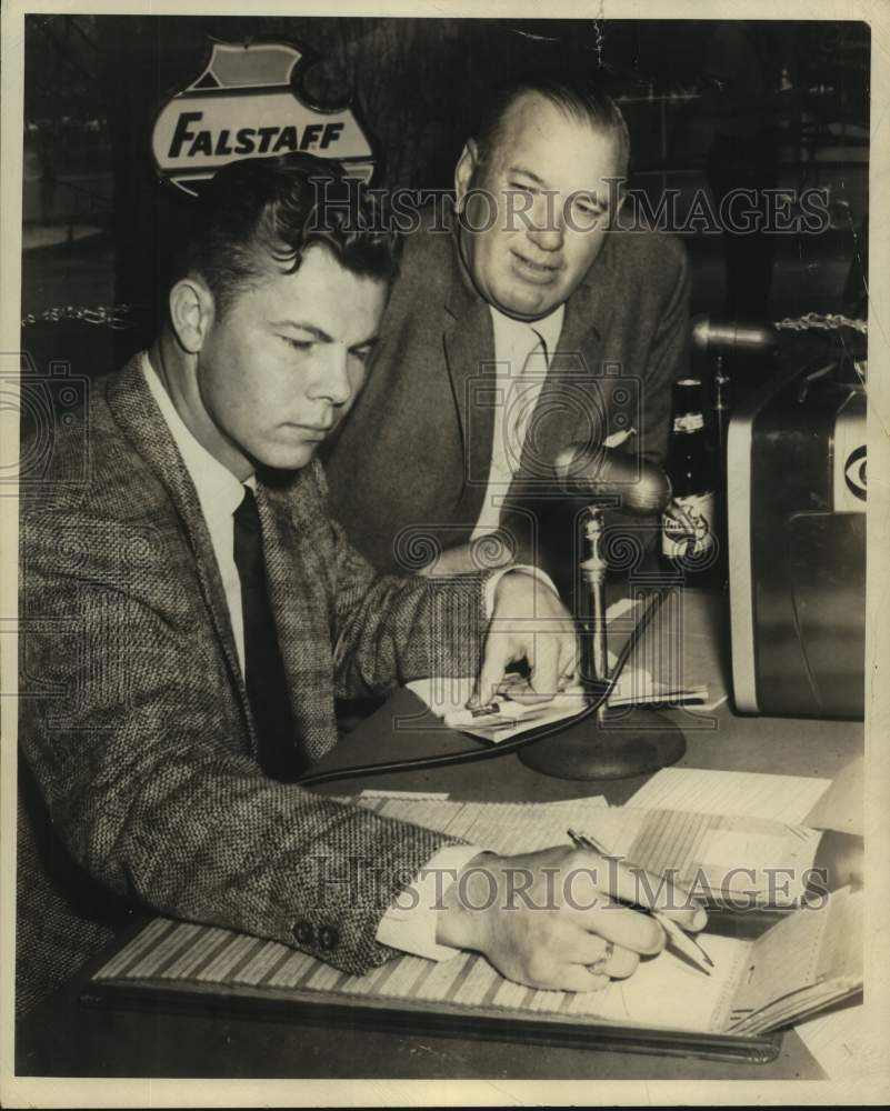 Press Photo Sports broadcasters Kyle Rote and Dizzy Dean - sas17027 - Historic Images