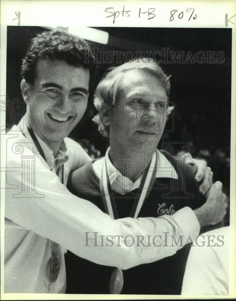 1989 Press Photo Cole High basketball coaches Herb More and Dave Madura - Historic Images