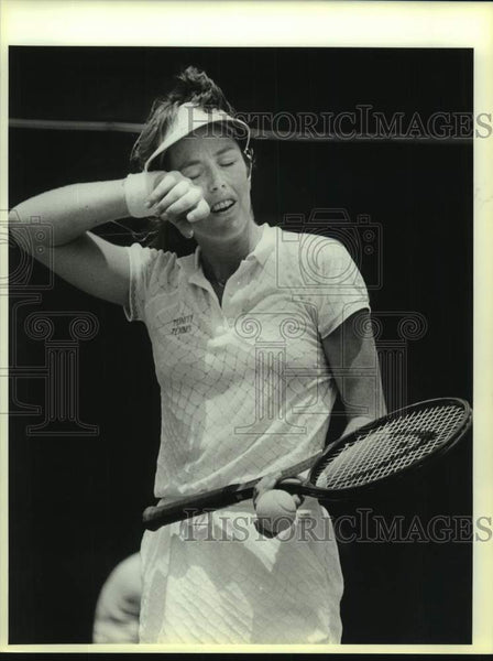 1986 Press Photo Trinity tennis player Gretchen Rush during NCAA finals - Historic Images