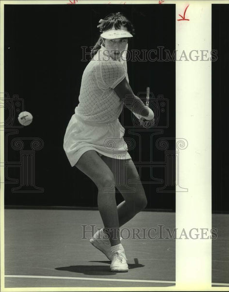 1986 Press Photo Tennis player Gretchen Rush of Trinity plays the NCAA final - Historic Images