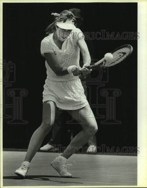 1986 Press Photo Gretchen Rush of Trinity plays NCAA Tennis in Austin - Historic Images