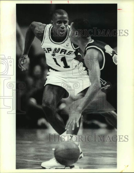 1989 Press Photo San Antonio Spurs, Portland Trail Blazers play NBA basketball - Historic Images