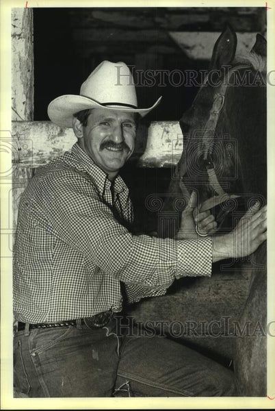 1985 Press Photo Rodeo official and political aide Dennis Sciabica - sas17119 - Historic Images