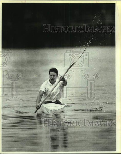 1987 Press Photo Flatwater kayaker Leila Knight - sas17121 - Historic Images