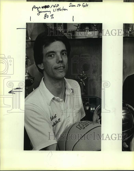 1986 Press Photo Basketball coach Jimmy Littleton - sas17166 - Historic Images
