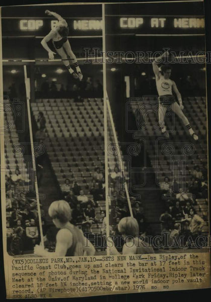 1976 Press Photo Pole vaulter Dan Ripley before setting a world indoor record - Historic Images