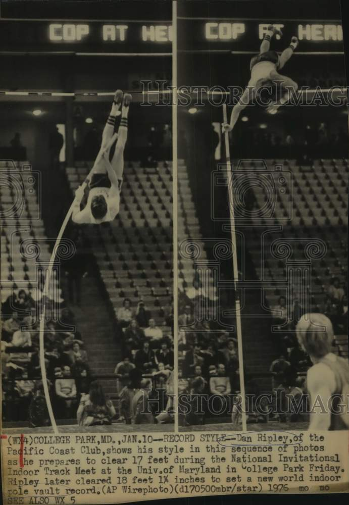 1976 Press Photo Indoor world record pole vaulter Dan Ripley in action - Historic Images