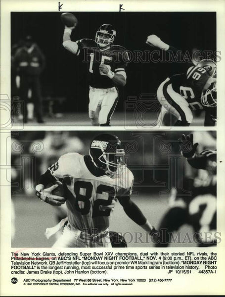 1991 Press Photo New York Giants football players Jeff Hostetler and Mark Ingram - Historic Images