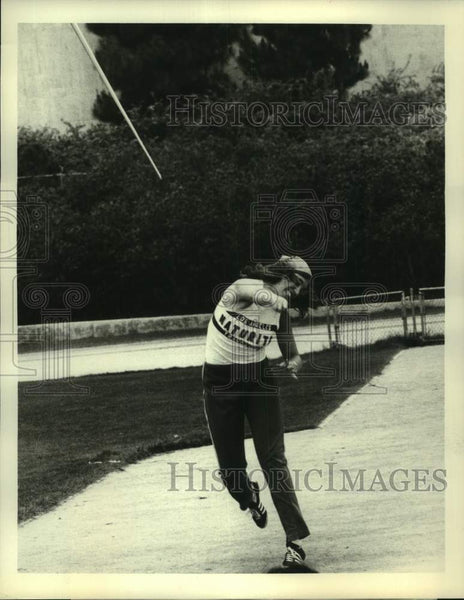 1975 Press Photo Olympic javelin thrower Cathy Schmidt - sas17187 - Historic Images