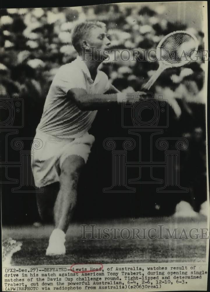 Press Photo Lewis Hoad of Australia plays Davis Cup tennis - sas17217 - Historic Images