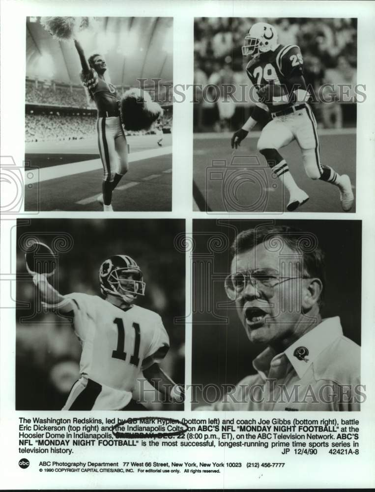 1990 Press Photo Washington Redksins and Indianapolis Colts football personnel - Historic Images