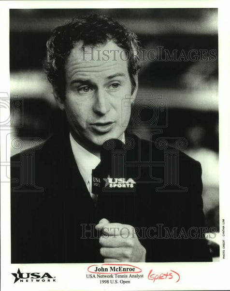 1998 Press Photo USA Network tennis analyst John McEnroe, 1998 U.S. Open - Historic Images