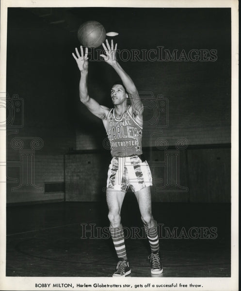 Press Photo Bobby Hilton Harlem Globetrotters Star free throw - sbs07373 - Historic Images