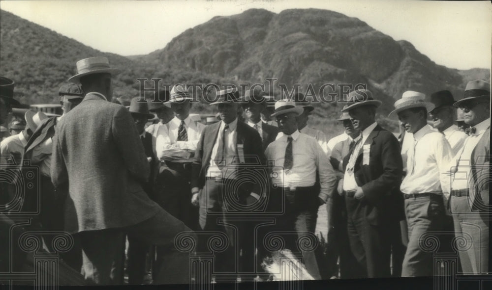 1927 Press Photo Party at Dam Site on Columbia Basin - Historic Images