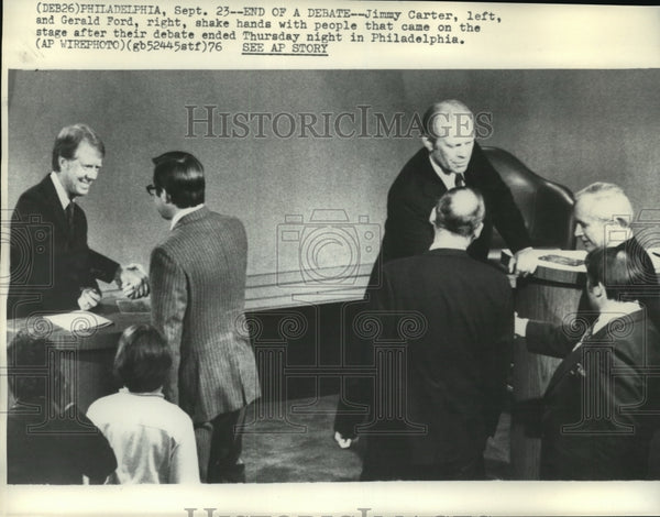 1976 Press Photo Jimmy Carter & Gerald Ford debated Thurs. night in Philadelphia - Historic Images