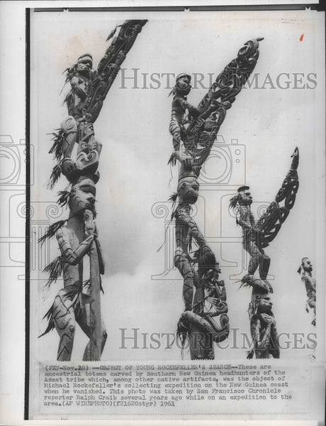 1961 Press Photo Ancestral Totems Carved by Southern New Guinea Headhunters - Historic Images