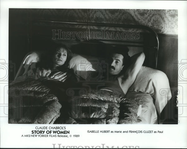 1989 Press Photo Isabelle Huppert & Francois Cluzet in Story of Women - Historic Images