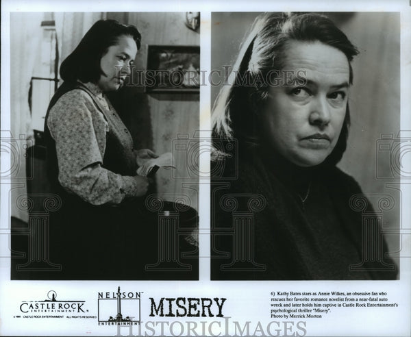 "1990 Press Photo Kathy Bates stars as Annie Wilkes in ""Misery"" - Historic Images"