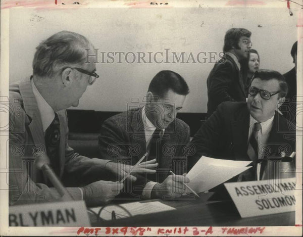 1974 New York Assemblymen discuss issue in Albany - Historic Images