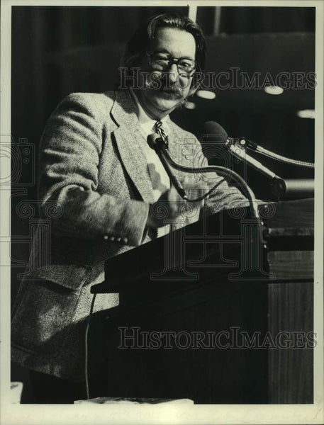 1979 Press Photo Dr. Joseph Weizenbaum, Computer Scientist, speaks in New York - Historic Images