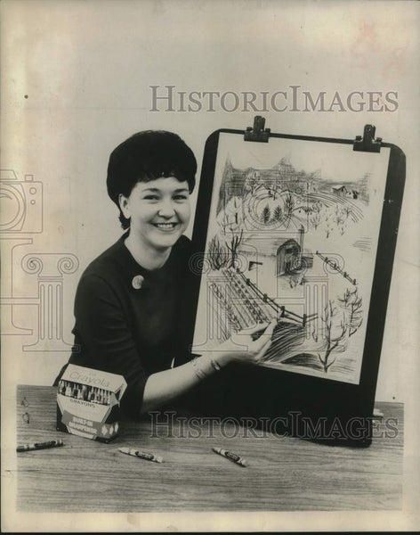 1966 Miss Dorothy Weise with crayons and easel board - Historic Images