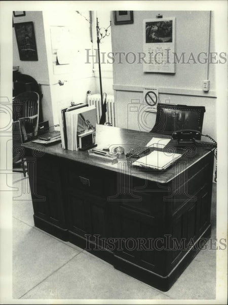 1978 Press Photo Steinmety Laboratory desk on display at Schenectady City Hall - Historic Images