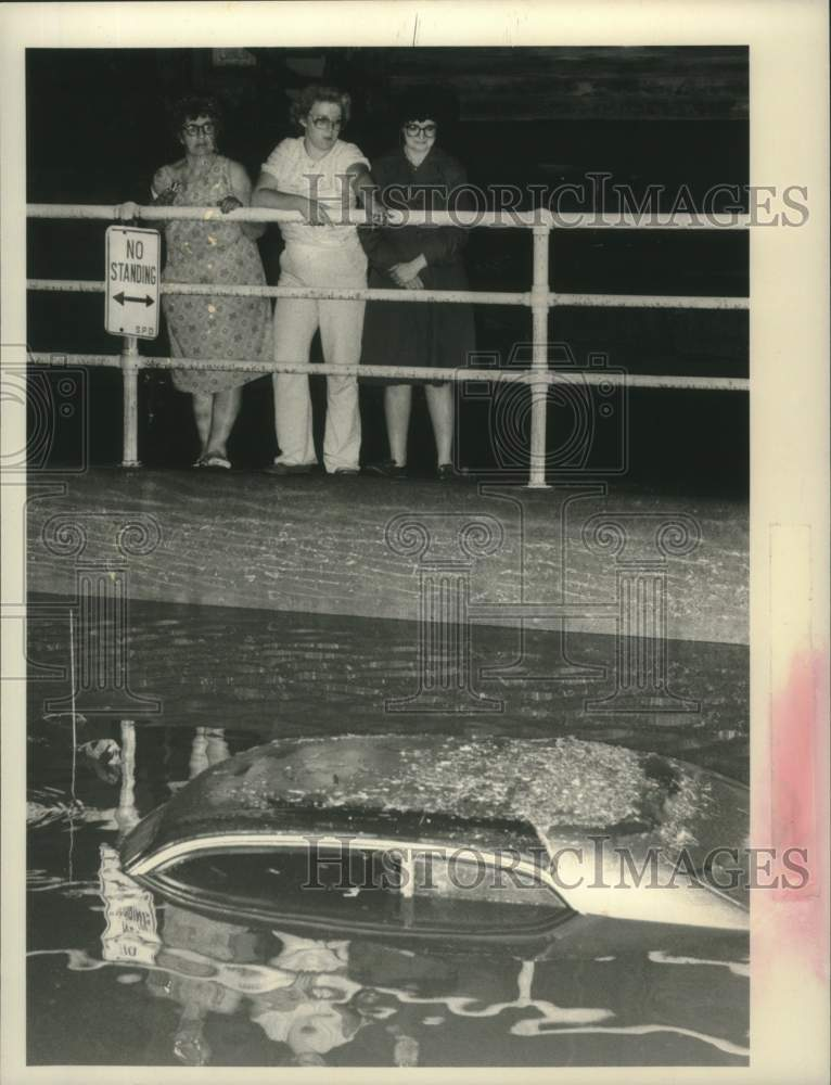1984 Press Photo Jay Street residents look at submerged car in Schenectady, NY - Historic Images