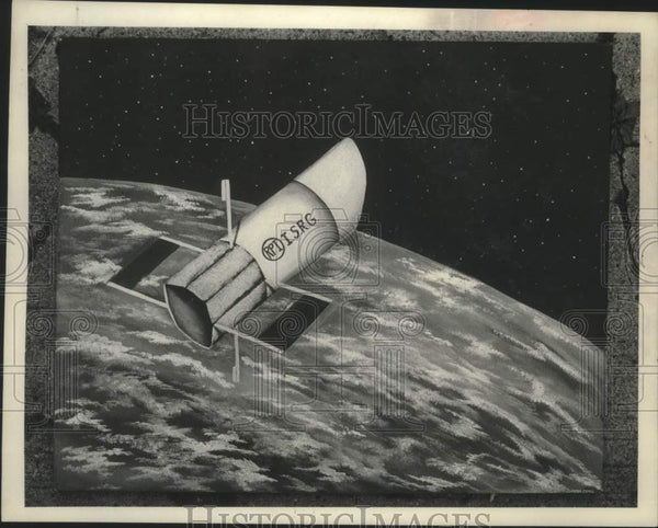 1981 Press Photo Photograph of Image of RPI I.S.R.G. satellite flying over earth - Historic Images