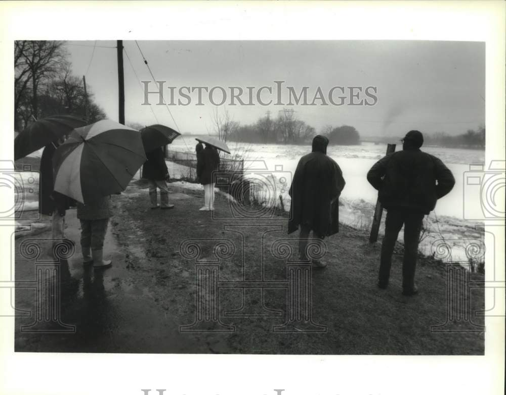 1993 Press Photo People watch the Mohawk River during rain in Schenectady, NY - Historic Images