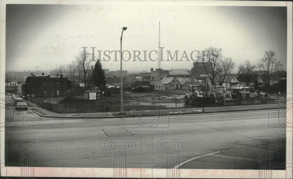 1980 Press Photo Construction of Schenectady, New York Central Fire Station - Historic Images