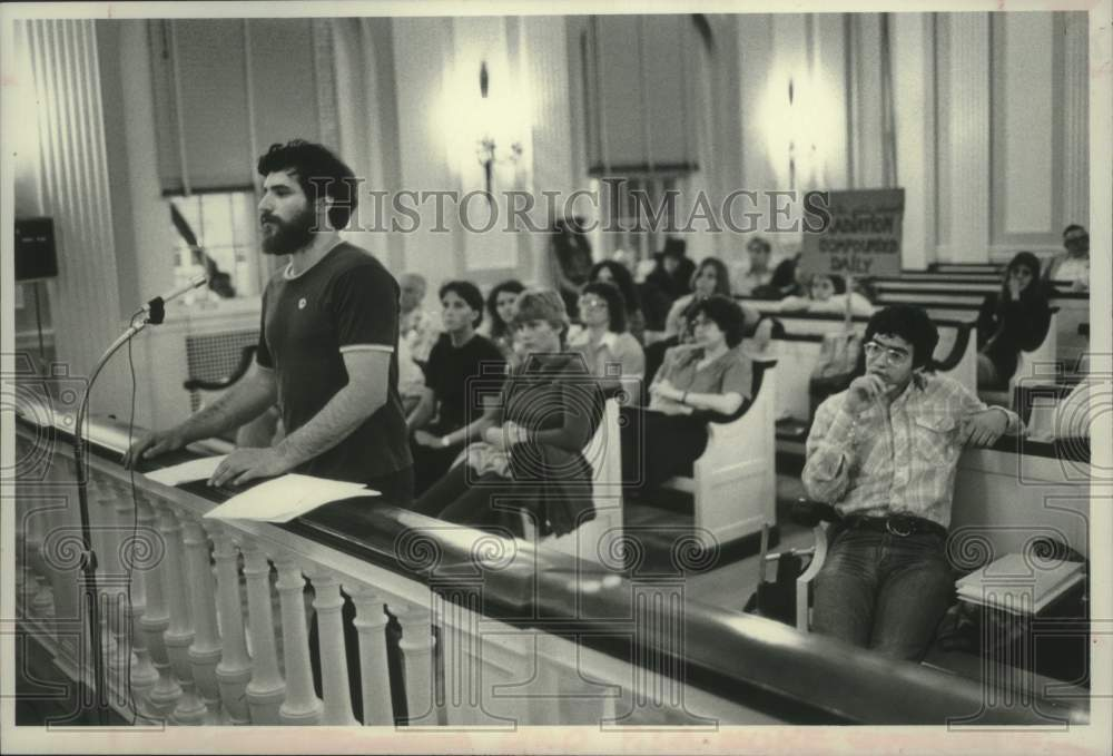 1979 Press Photo Physicist speaks to Schenectady, NY Environmental Commission - Historic Images