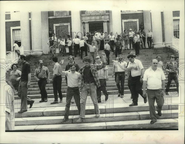 1978 Press Photo Schenectady, New York city employee union members demonstrate - Historic Images