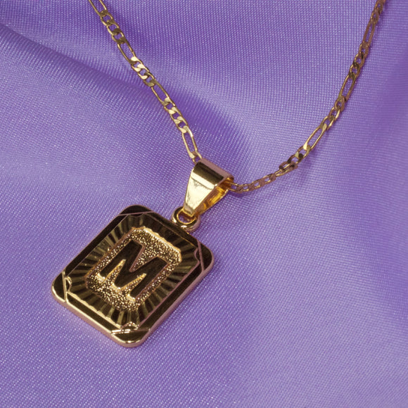 Tablet Initial Pendant Necklace