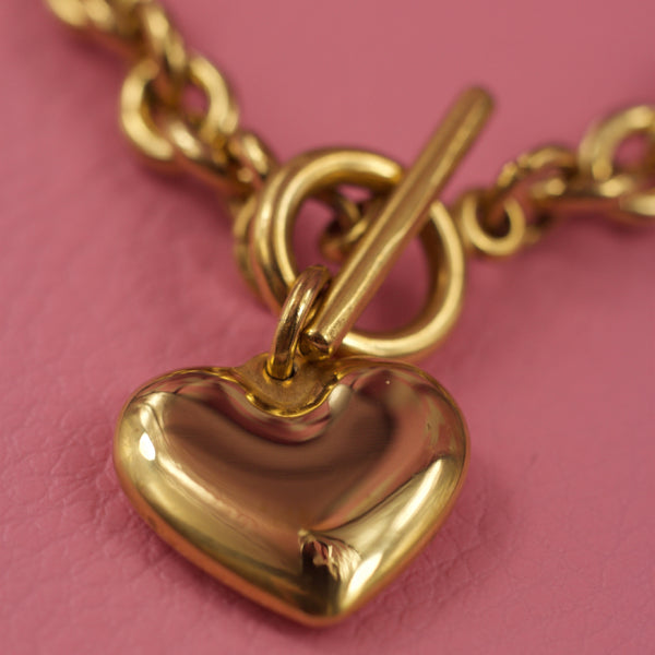 Heart Charm T Bar Bracelet Gold
