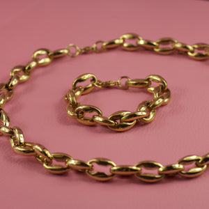 Coffee Bean Link Chain Necklace