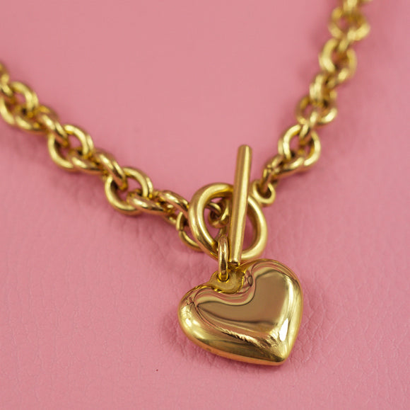 Heart Charm T Bar Necklace Gold