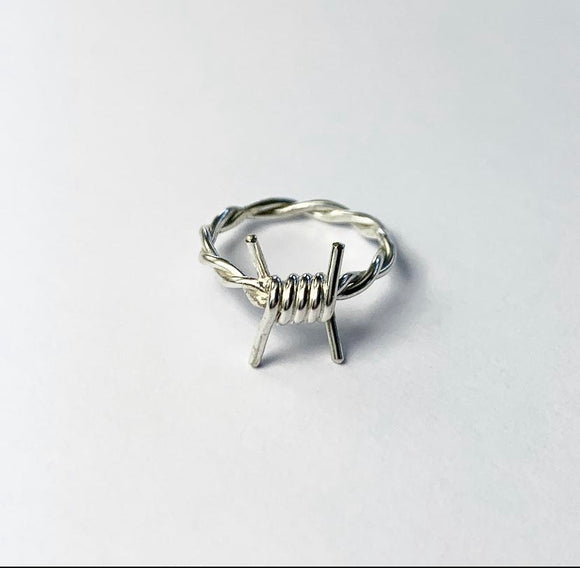 Silver Barbed Wire Ring
