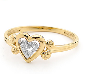 9Y HEART DIA RING B21