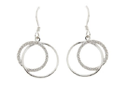 STERLING SILVER ROUND CZ DROP EARRINGS