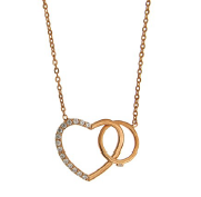 ROSE GOLD CZ HEART AND CIRCLE NECKLACE