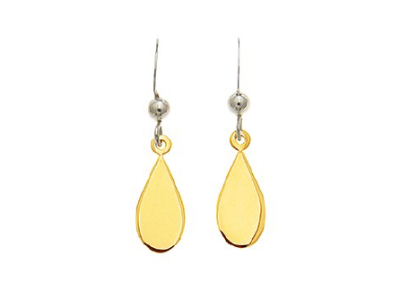 STERLING SILVER + GOLD TEAR DROP EARRINGS
