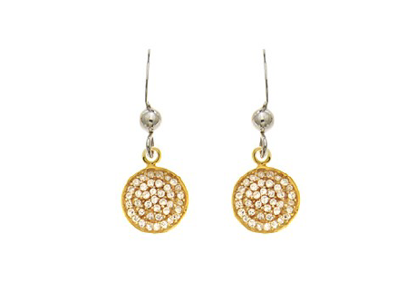 STERLING SILVER + GOLD CZ DROP EARRINGS