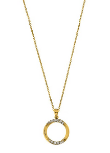 GOLD OPEN CIRCLE CZ NECKLACE