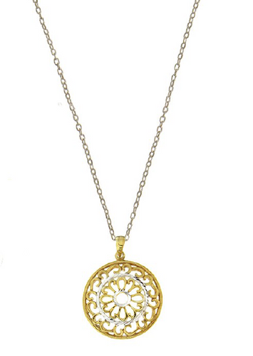 STERLING SILVER + GOLD ROUND FILIGREE NECKLACE