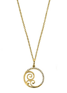 GOLD OPEN CIRCLE FILIGREE CZ NECKLACE