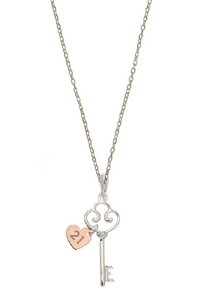 STERLING SILVER + ROSE GOLD 21ST NECKLACE