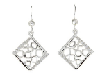 STERLING SILVER DIAMOND SHAPE CZ DROP EARRINGS