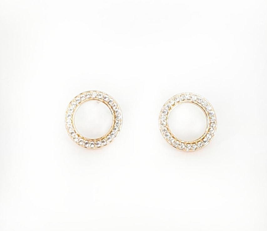 ROSE GOLD OPEN CIRCLE CZ STUDS