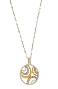 STERLING SILVER + GOLD CZ SWIRL NECKLACE