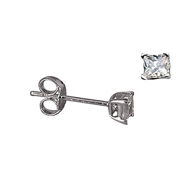 STERLING SILVER 3MM SQUARE CZ STUDS
